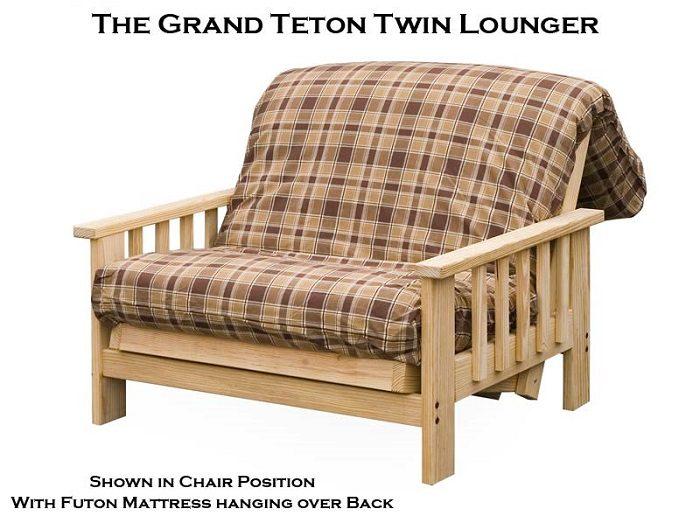 Twin Size Futon Lounger Frame Grand Teton Style -