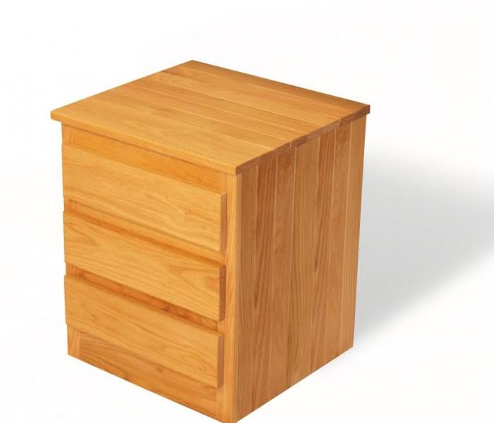 Three Drawer Oak Nightstand