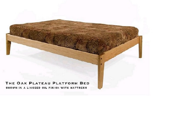 Queen Solid Oak Platform Bed