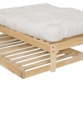 Wooden Platform Bed with Twin Trundle Bed