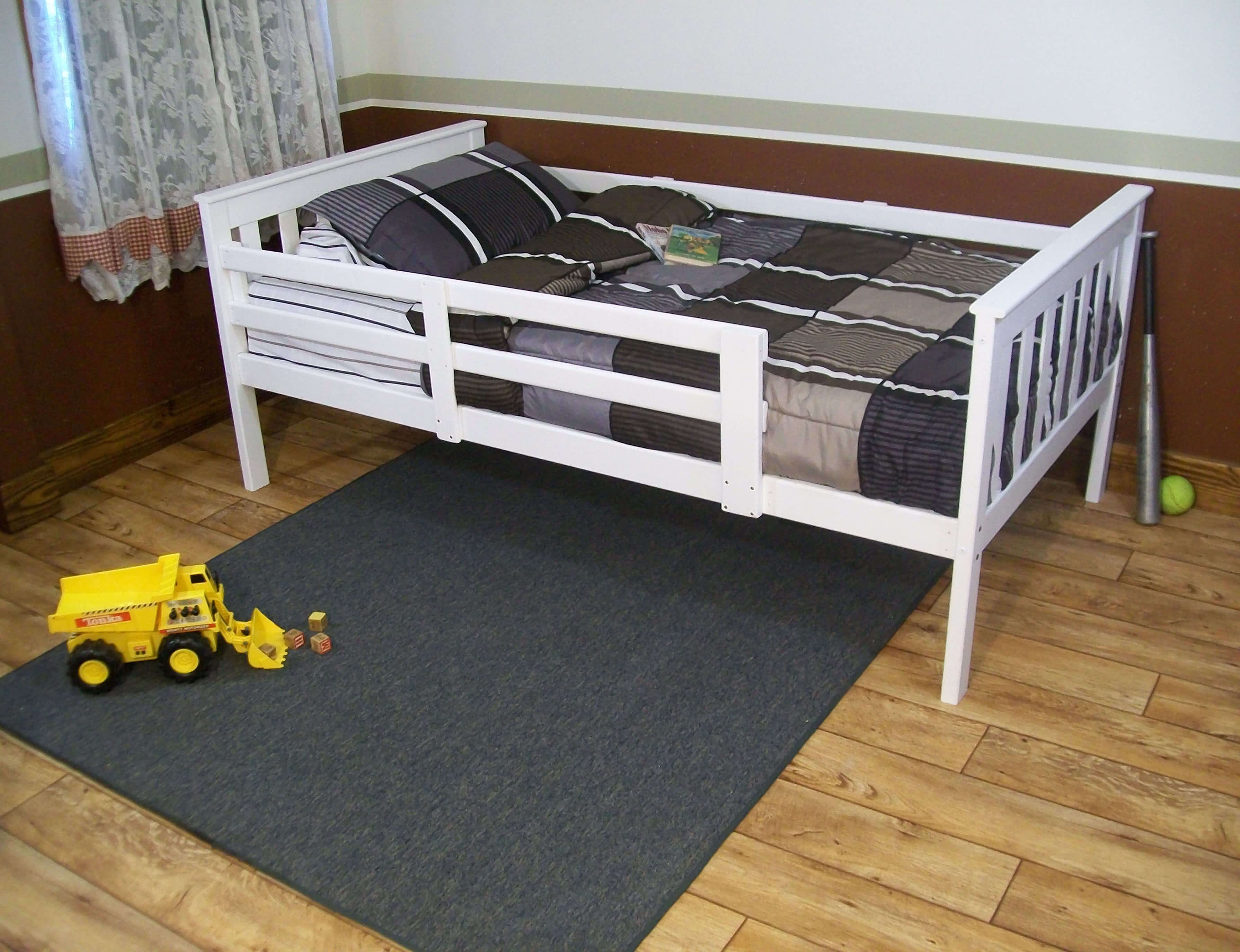 platform bed with guard rail versa style  twin or full size  - platform bed with guard rail