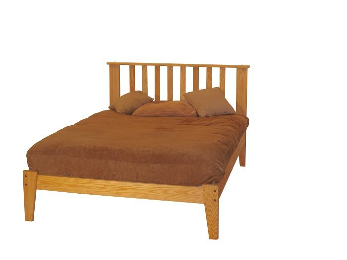 Queen Oak Mission Platform Bed package