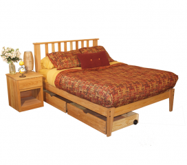 Oak Bedroom Set - Full Size - 4 Piece, Unfinished