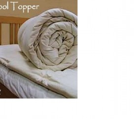 White Lotus Wool Bed Topper in 100% Cotton Case