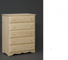 Valley Series 5 Drawer Pine Chest - scalloped