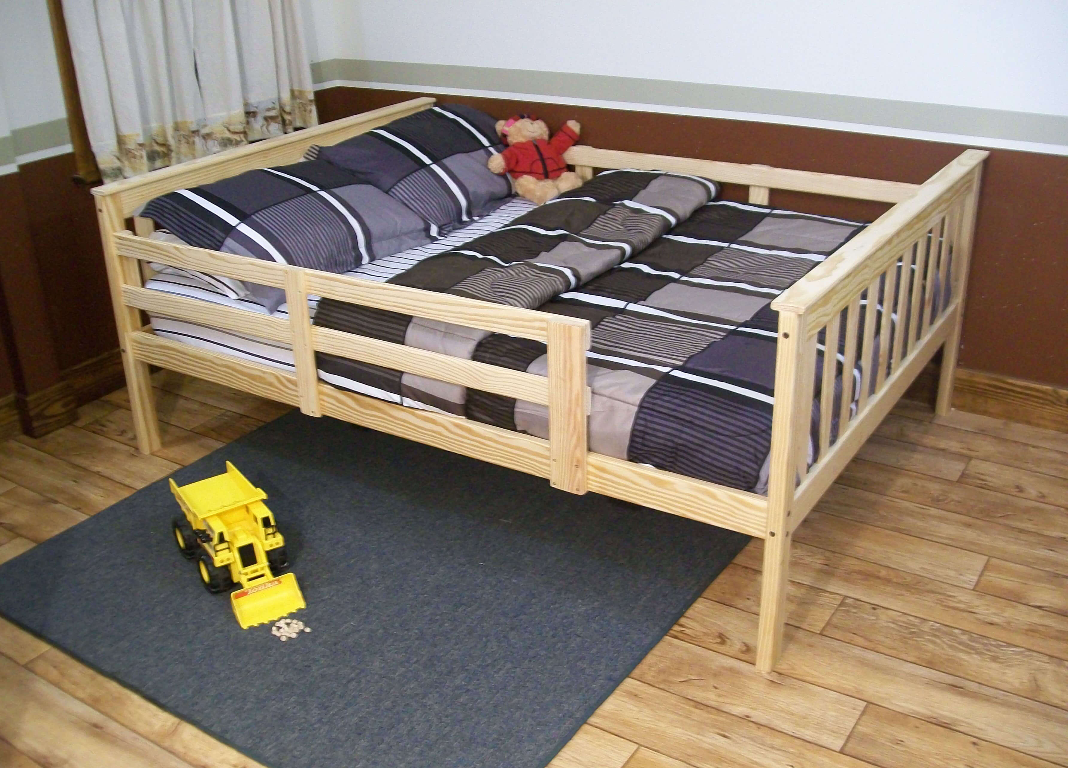 Platform Bed With Safety Guard Rails Twin Or Full Size